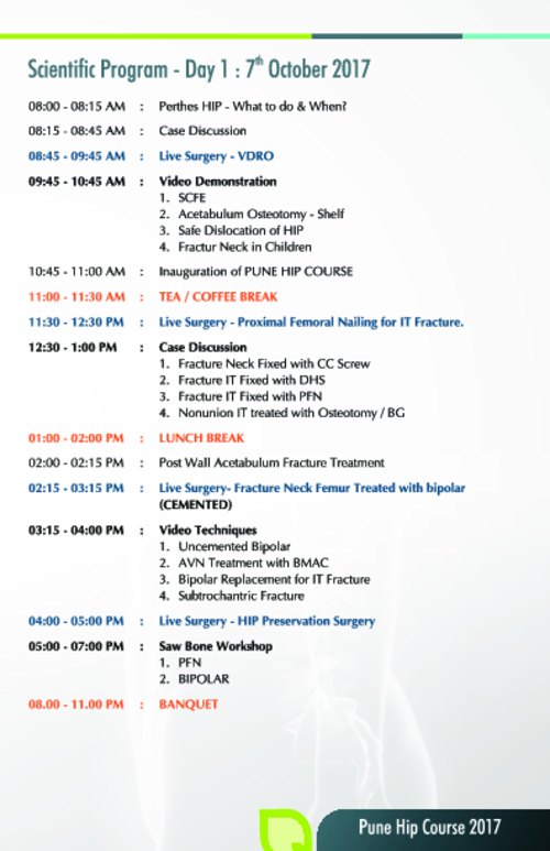 Scientific Program Day 1 Pune Hip Course 2017|Dr. Saraf's Joints Clinic|Karve Road ,Pune