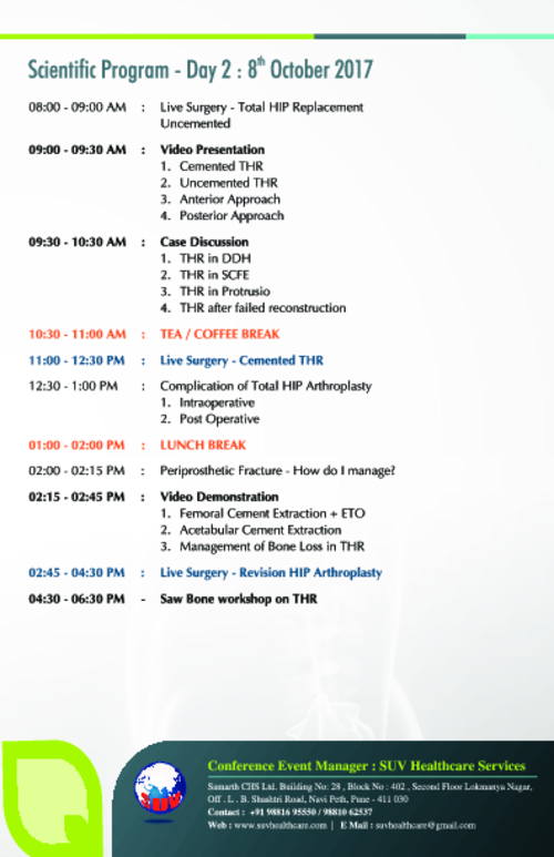 Scientific Program Day 2 Pune Hip Course 2017|Dr. Saraf's Joints Clinic|Karve Road ,Pune
